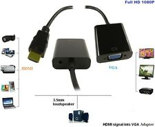 New Input HD HDMI to Output VGA Cable Converter Adapter for PC DVD TV Monitor UK