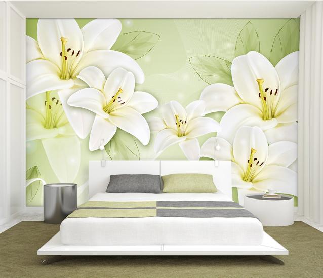 3D Schöne Weiße Lilie  974 Tapete Wandgemälde Tapete Tapeten Bild Familie DE