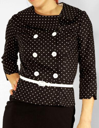 POLKA DOT veste 8-Veste ajustée avec ceinture UK14 Sarina Mod Veste Rétro UK8 14