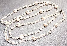 VINTAGE GORGEOUS WHITE AND CREAM SWIRL LUCITE SUPER LONG NECKLACE