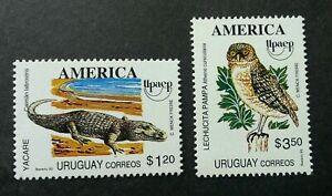 [SJ] Uruguay America Issue Fauna 1993 Crocodile Owl Bird Reptiles (stamp) MNH