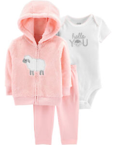 fa2c13c6a Child of Mine Carter's Baby Girls' Bodysuit, Pants + Plush Hoodie, 3 ...