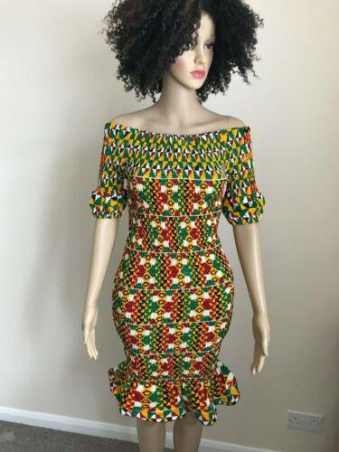 Afrikstyle Stampa Africana Ankara elastico off spalla manica corta Abito UK 10-14
