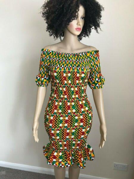 2019 úLtimo DiseñO Afrikstyle Africano Impresión Ankara Elástico Del Hombro Vestido Manga Corta Uk 10-14-ver Gama Completa De ArtíCulos