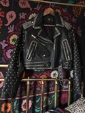 Vintage Punk Rock Studded Biker Leather Jacket