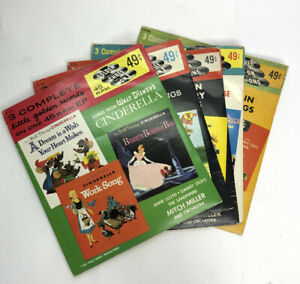 Vintage Little Golden Records 45 rpm 1950's Disney & More Set of 5 Collectible