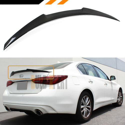 FOR 2014-18 INFINITI Q50 SPIKED HIGHKICK JDM CARBON FIBER TRUNK LID SPOILER WING