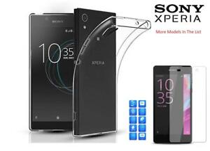 For Sony Xperia L1/XA/XA1/XZ/XZ1 Clear Gel Case +Tempered Glass Screen Protector