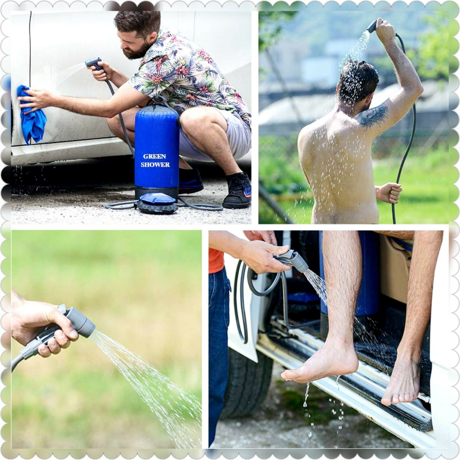 HW PORTABLE OUTDOOR SHOWER BAG WITH FOOT PUMP & SHOWER  NOZZLE FOR CAMPING HIKING  10 days return