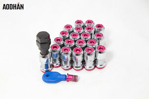 12X1-5-Aodhan-Xt45-Lug-Nuts-Red-Chrome-Open-End-20Pc-Fit-Ace-Enkei-Miro-Mrr-Rims
