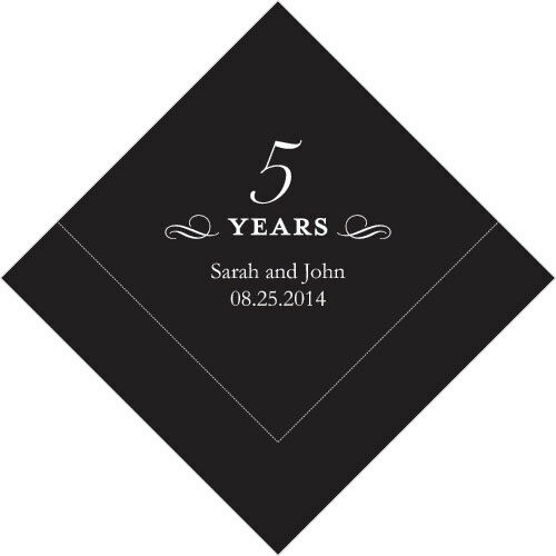 300 Printed 5th Anniversary Birthday Luncheon Napkins