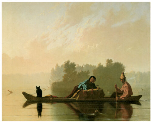 Room Home art.1595 Two people /& a cat on a canoe Wall decor Poster Art Design
