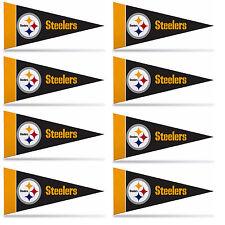 "Pittsburgh Steelers Mini Pennant Banner Flags 4"" x 9"" Fan Cave Decor 8 Pk Set"