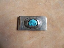 Sleeping Beauty Turquoise & Stamped Sterling Silver Money Clip Navajo