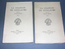 Moyen Age la chanson de Guillaume société des anciens textes français 1949