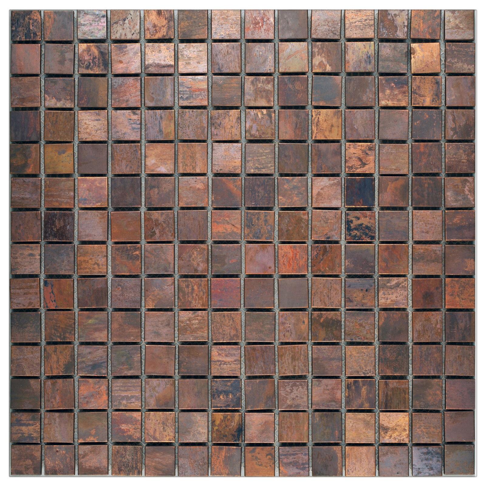 Mosaik Metall Kupfer braun Wand Fliese Küche Fliesenspiegel 10 Matten ES-86481_f