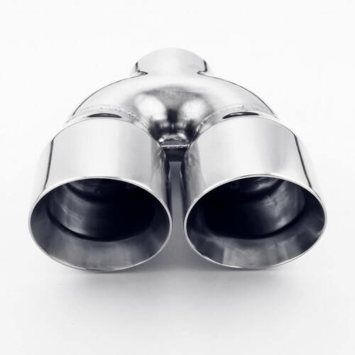 """m,Dual Wall 4/"""" Out Stainless Steel Exhaust Tip 3/"""" Inlet Polished Round Angle Cut"""