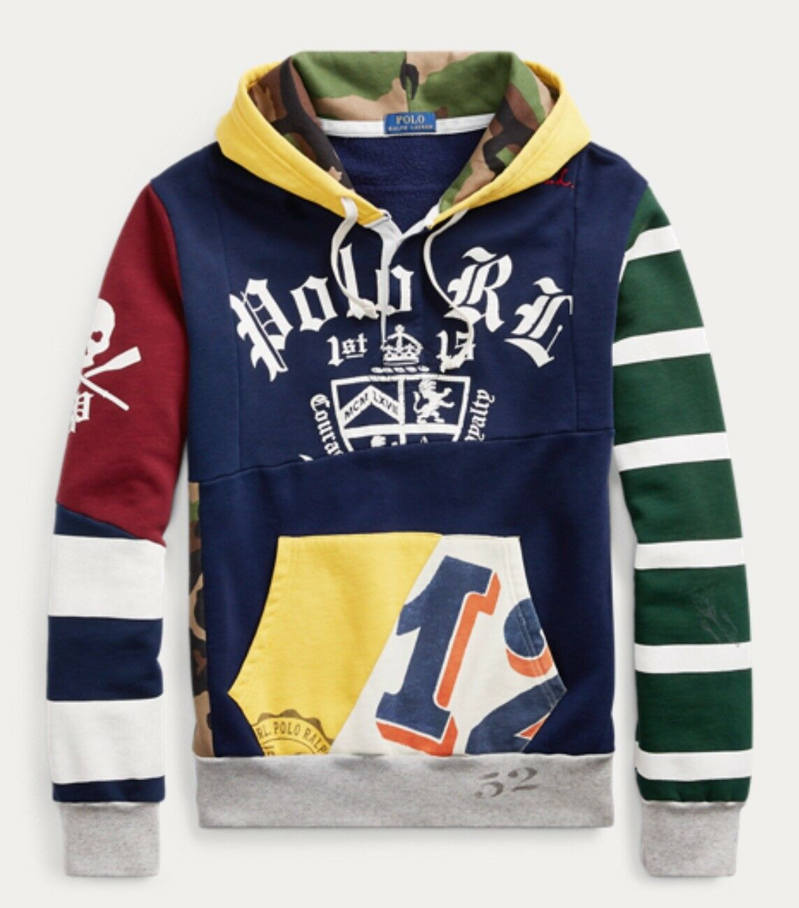 Polo Ralph Lauren Patchwork Hoodie XL NWT