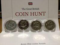£1 - One Pound Coins - Set of Four - UK Floral Emblems - 2013/2014 Near Unc Con