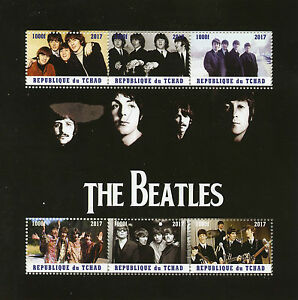 TCHAD-2017-CTO-The-Beatles-John-Lennon-Paul-McCartney-6-V-M-S-Music-timbres