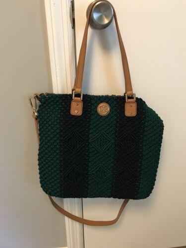 Tory Burch Crochet Zip Tote Navy and Green