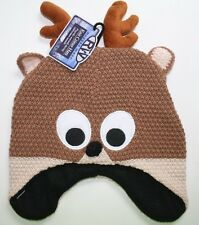 Rugged adult knit critter hat deer character warm stocking cap hat snow beanie