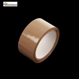 12-ROLLS-OF-LOW-NOISE-BROWN-PACKING-PARCEL-PACKAGING-TAPE-48mm-x-66M