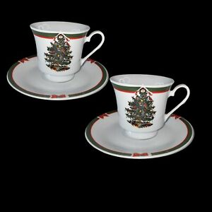 """Vintage Set Of 2 Ribbons And Tree Cup And Saucer Porcelain China 3""""t"""