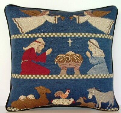 Three Wisemen Town Shepherds Navitity- Holy Family Star Tapestry Pillow New