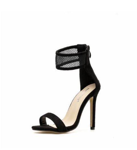 Sandale stiletto spillo 12 cm nero rete simil pelle comodi eleganti  9621