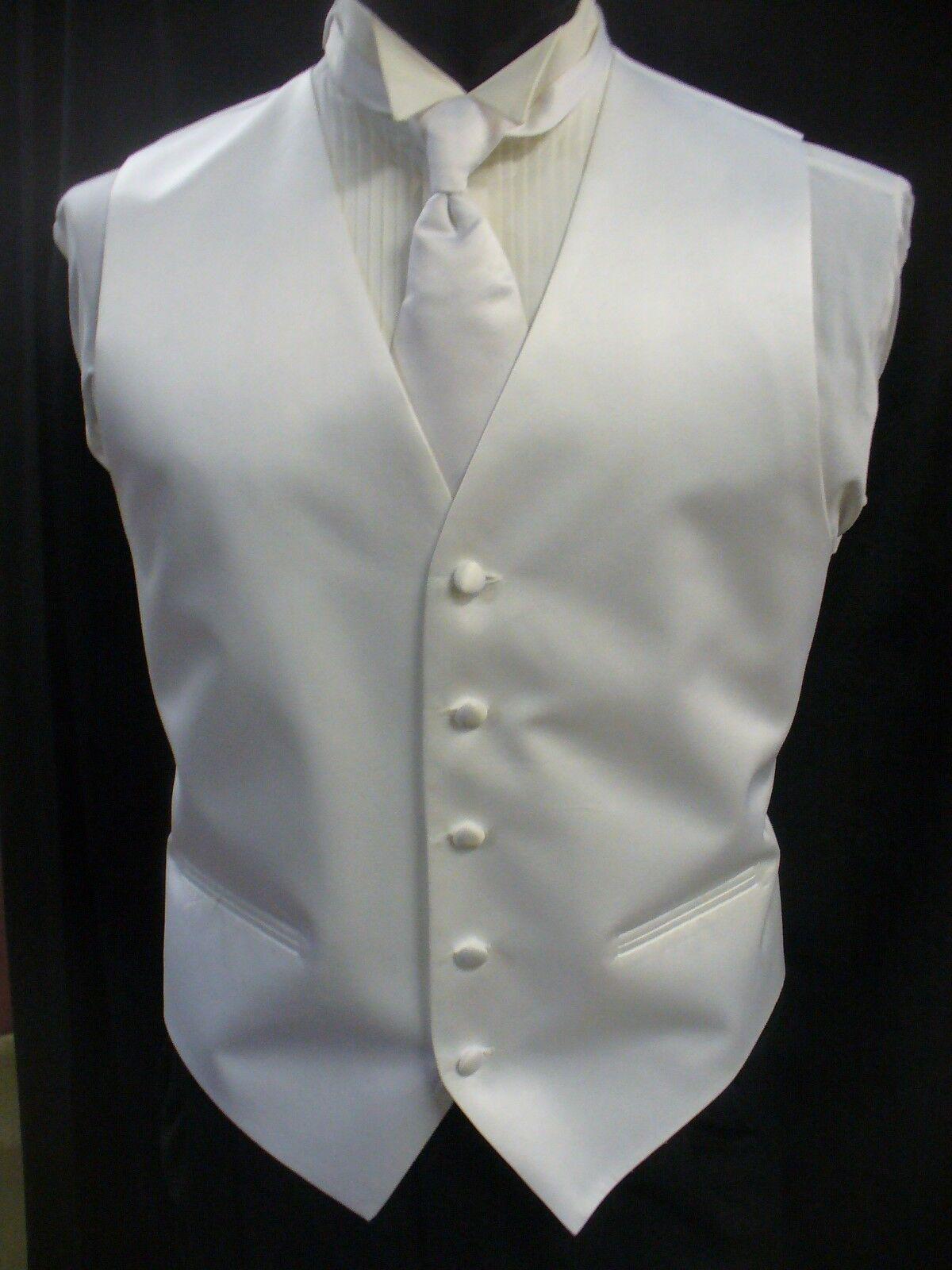 off white Four Button Full Back Vest Ivory DTF Formal Vest and Tie set