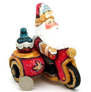 Wooden-Figure-Russian-Doll-Father-FROST-on-BIKE-Christmas-BIKER-RED-Santa
