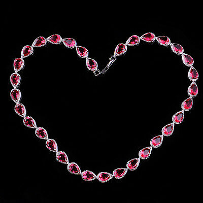 Garnet CZ-Ruby Pear&Teardrop Tennis Necklace 10K White Gold Filled Collar 16.9in