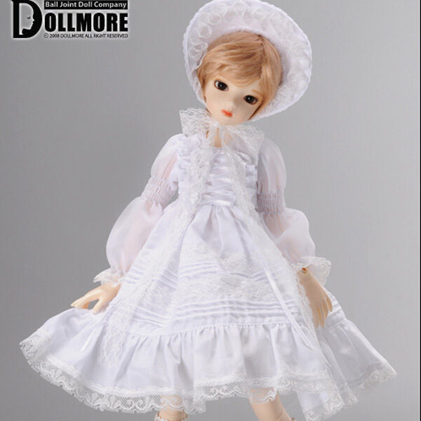 """Dollmore 17"""" 1/4 Doll clothes  MSD SIZE - Edelweiss Dress Set (White)"""