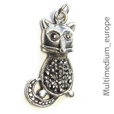 Vintage Silber Anhänger Katze Markasit Silver Pendant Cat Marcasite ????????????????????