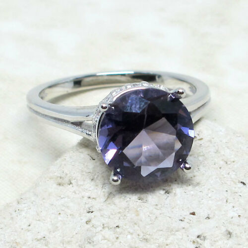 AWESOME 4 CT ROUND LAVENDER PURPLE 925 STERLING SILVER RING SIZE 5-10