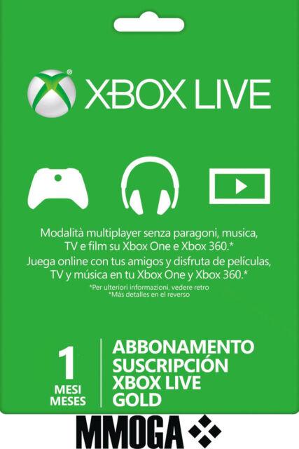 Xbox Live Gold Abbonamento 1 Mese - Microsoft Xbox One Xbox 360 - ITA