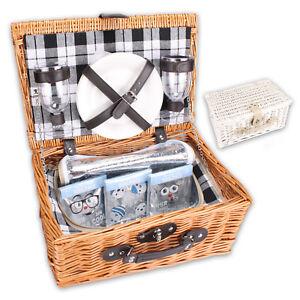 Picknickkorb-mit-Ausstattung-Kuehlfach-Kuehltasche-Kuehlfach-2-Personen-weiss-braun