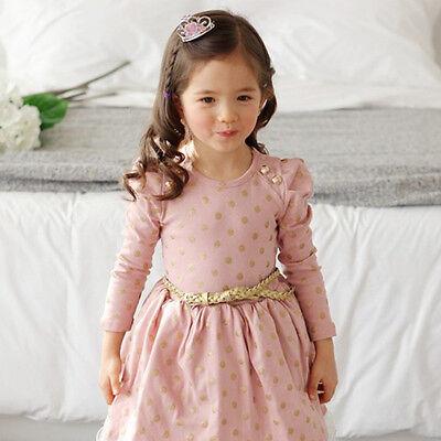Kids Girls Clothing Princess Long Sleeve Tutu Polka Dot Dress Skirt Size 3 - 8Y