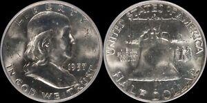 1957-D-Franklin-Half-Dollar-BU-FBL-Gem-Obsolete-Old-Silver-US-Type-Coin-50-Cent