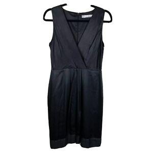 Basque Women's Sz 10 V-Neck Sleeveless Knee Length Black Cocktail Business Dress