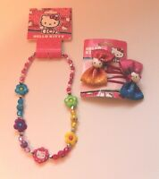 Hello Kitty Bead Necklace & Sparkle Bow Hair Barrettes For Girls Age 4-7