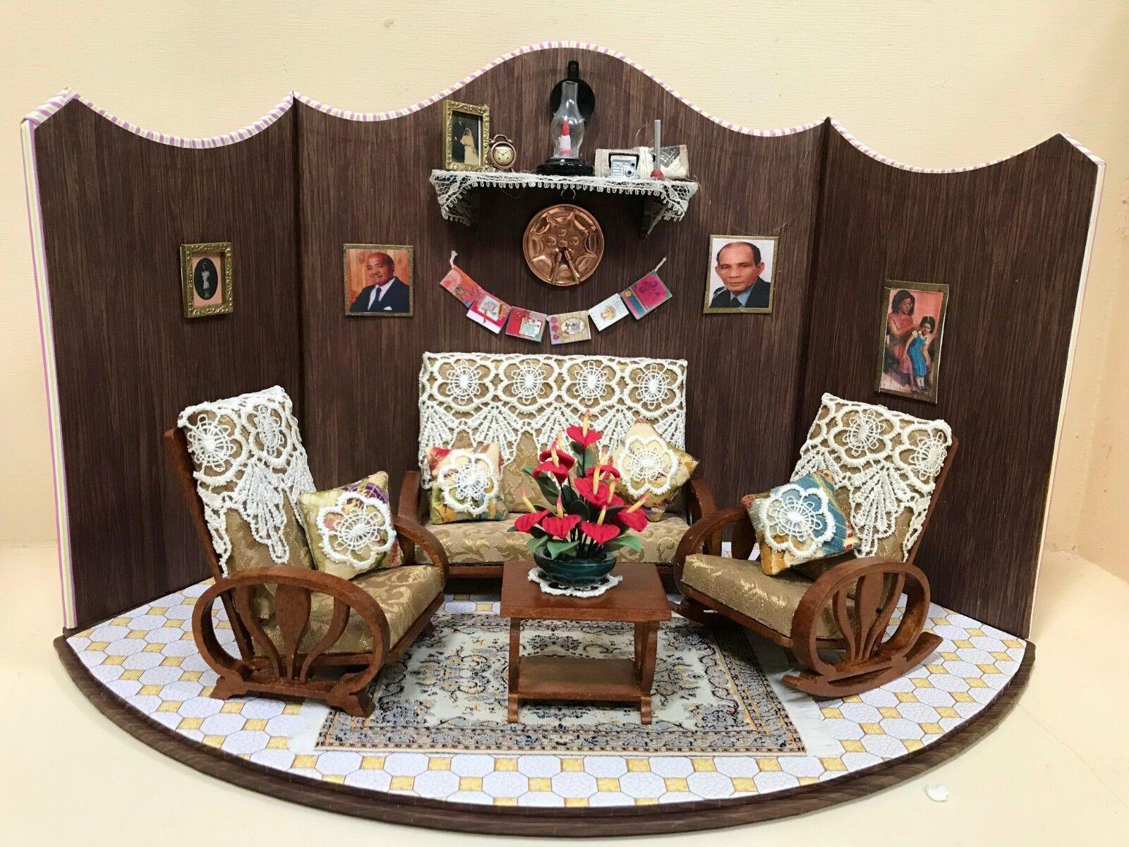 Traditional Trinidad Vintage Morris Chairs  Miniature Living Room Set & Vignette