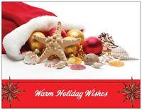 20 Christmas Santa Hat Beach Shells Tropical Greeting Flat Cards Envelopes Seals
