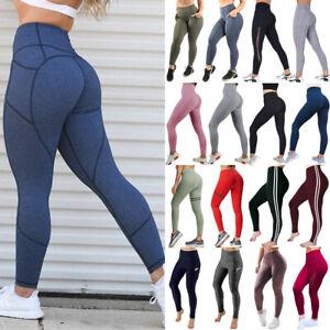 Women Ladies Yoga Pants High Waist Butt Lift Leggings With Pockets Gym Trousers