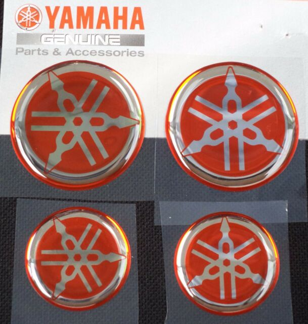 Yamaha genuine domed decal sticker red silver fork tank 40mm 30mm