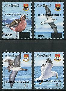 Kiribati-2015-Voegel-Birds-Aufdruck-Singapore-Overprint-1158-1161-Postfrisch-MNH