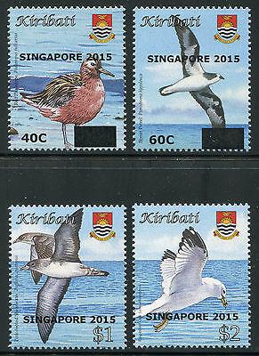 Kiribati 2015 Vögel Birds Aufdruck Singapore Overprint 1158-1161 Postfrisch Mnh äRger LöSchen Und Durst LöSchen