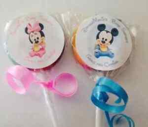 baby mickey minnie mouse swirl twirl lollipop baby shower favor 12 ct