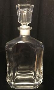 Beautiful Vintage Clear Glass LIQUOR DECANTER Bottle w/Stopper - Unusual Shape